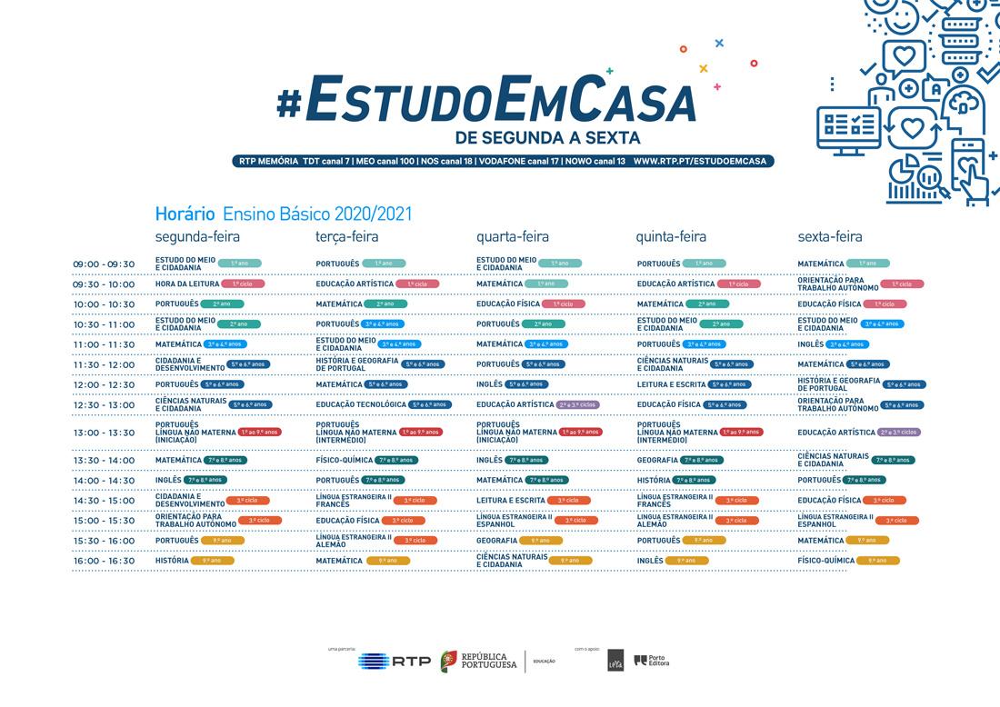 Horário #EstudoEmCasa 2020/2021